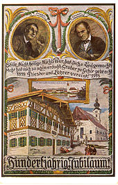 Post card celebrating the 100th anniversary of the writing of Silent Night (stille Nacht)
